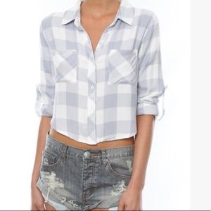 Rails rian cropped flannel button down periwinkle